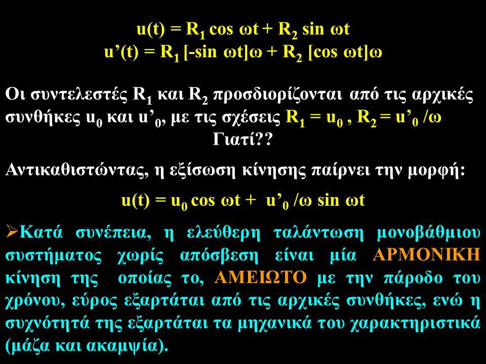 u'(t) = R1 [-sin ωt]ω + R2 [cos ωt]ω u(t) = u0 cos ωt + u'0 /ω sin ωt